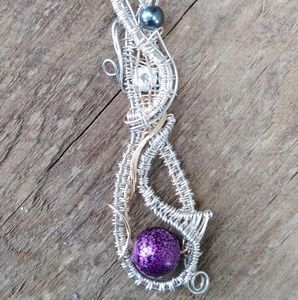 Handmade wire woven silver coated bead drop pendan
